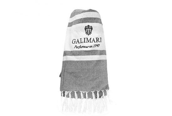 Fouta brodée Galimard - Serviette légère en coton chiné gris et blanc brodée Galimard